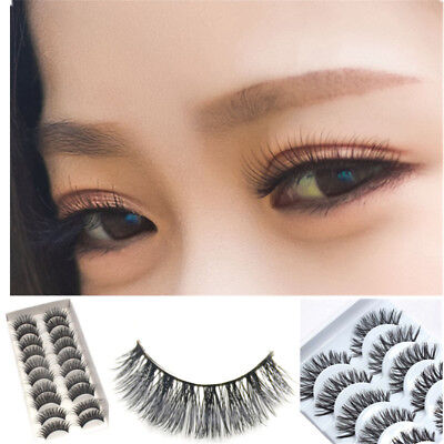 5/10 paires de faux cils naturels Long Eye Lashes Extension maquillage
