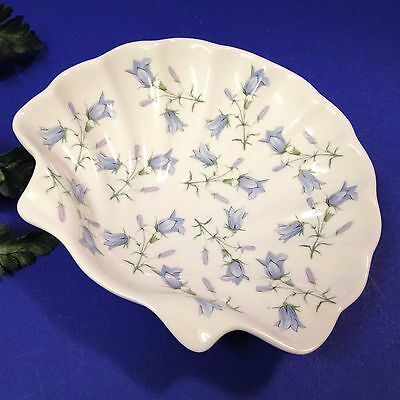Fine Bone China, England - Scalloped Shell Soap Dish, Trinket Dish - Blue Bells