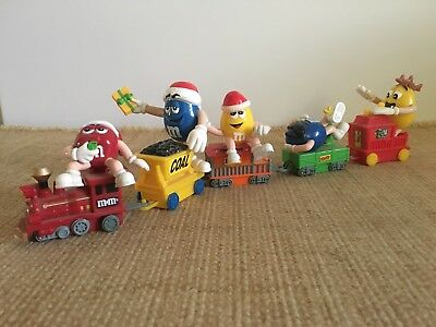 M&M's Collectible Christmas Train with Engine Caboose and Freight Cars