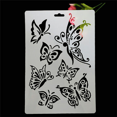 Wall DIY Decor Grain Butterfly Pattern Painting Reusable Paint Stencil Template.