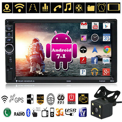 "Quad Core Android 7.1 3G WiFi 7"" 2DIN Car GPS BT Stereo Radio MP5 AM FM + Camera"