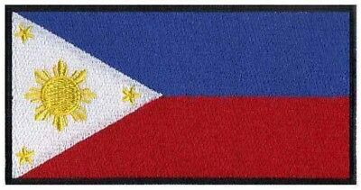 2 pcs FILIPINO Flag Embroidered Iron on Patches - PHILIPPINES