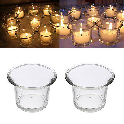 Beautiful Clear Glass Tea Light Votive Candle Holder Wedding Xmas Party Pop