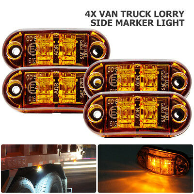 4 x LED Side Marker Amber Clearance Trailer Lights Lamp Indicator Truck 12-24V