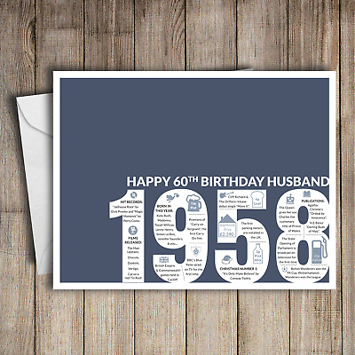 60th Birthday Card Husband Blue A5 Greeting For Him 1958 Memories