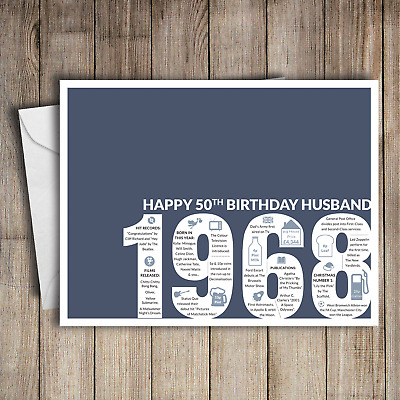 50th Birthday Card Husband Blue A5 Greeting For Him 1968 Memories