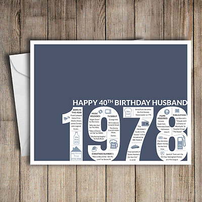 40th Birthday Card Husband Blue A5 Greeting For Him 1978 Memories
