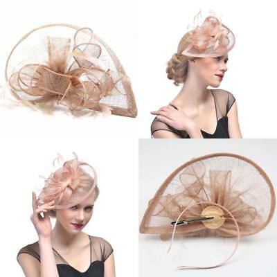Ladies Sinamay Wedding Fascinator Feather Bridal Cocktail Party Headwear Champag