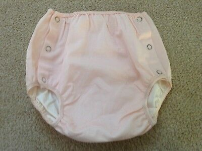 Vintage Baby Cloth Diaper Cover, Plastic Pants Pink Silky Textured Large Free Sh