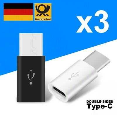 3x USB type-C USB-C auf Micro USB Adapter für Huawei P10 P9 Honor V9 V8 8 Note 8
