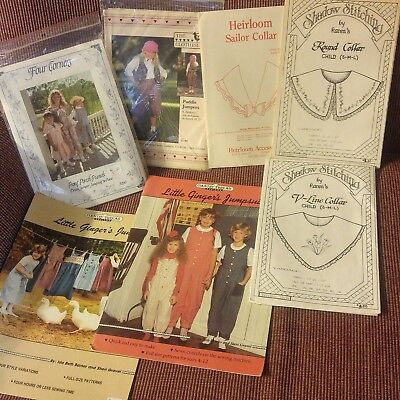 Lot of 7 Vintage Childrens Sewing patterns Jumpers Dress Jumpsuit Prairie New