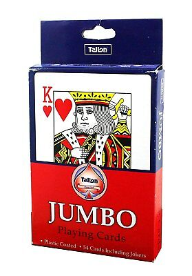"5"" Jumbo Large Playing Cards, Full Deck with Jokers, Plastic Coated, Garden Game"