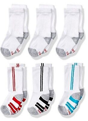 Hanes Big Boy's 6 Pairs Comfort Blend Fitted Heel Cotton Crew Socks