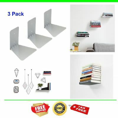3 Pack Book Shelf Wall Mount Invisible Bookshelf Hidden Small Metal Hang Place
