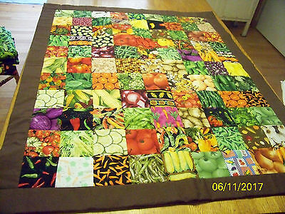 Homemade Vegetable Quilt Corn on Cob Backing Brown Binding 41in x 34 in
