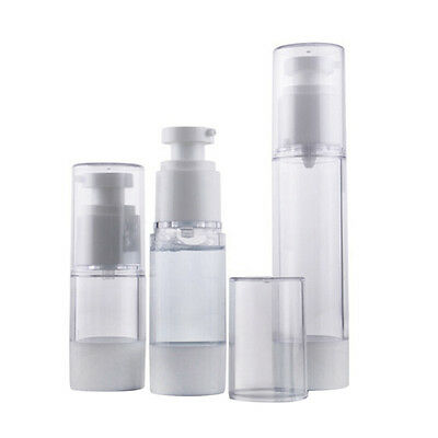 15/30/50ml Travel Empty Airless Pump Clear Bottle Lotion Cosmetic Containers CR