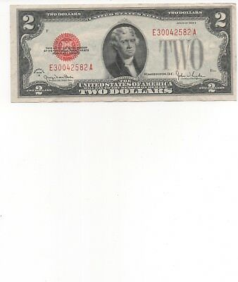 1928 G Series $2 Two Dollar Red Seal Note Bill US Currency VG - F