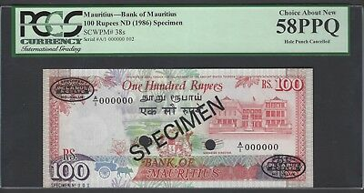 Mauritius 100 Rupees ND(1986) P38s Specimen TDLR N002  About Uncirculated