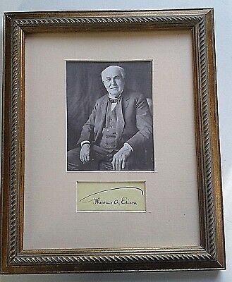 Thomas Edison Authentic Signed Cut Matted And Framed