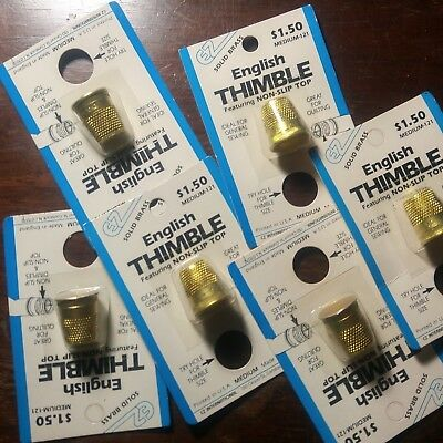 LOT OF 6 Brass Vintage New Old Stock Sewing Thimbles In Package