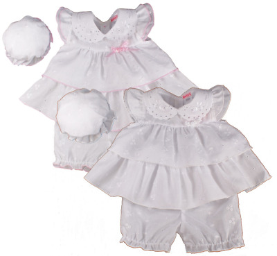 Baby girl dress clothes premature tiny prem small broderie anglaise hat bloomers