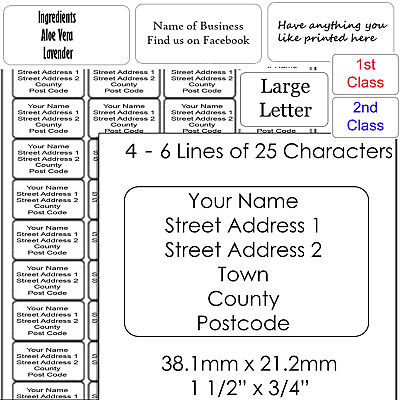 Personalised Return Address Labels Self Adhesive  1st, 2nd Class or Large Letter