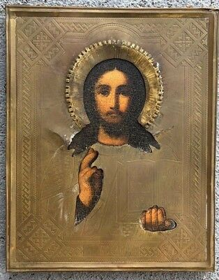 Antique Byzantine Religious Icon Of Christ Pantocrator