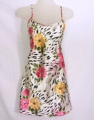 Tropical exotic floral colorful white Vandre Slip Chemise Nightgown S VGUC