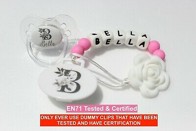 Personalised Dummy Avent Dummy And Dummy Clip *butterfly* Can Be Sterilised