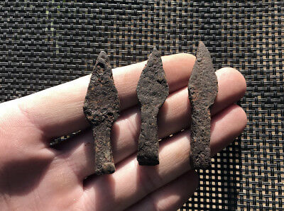 Hallstatt- 3 X Proto-Celtic Iron (Lt Ba2) Arrow-Head !!! Genuine !!!