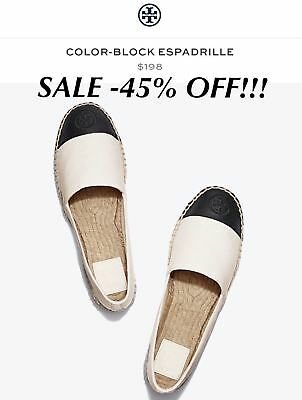 f52344a33f4fdc  198 NEW NIB Tory Burch Women s Color-Block Espadrille Flats shoes size 9.5  SALE