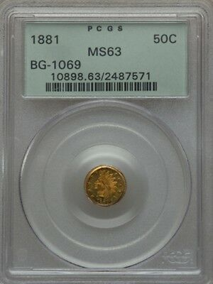 1881 Bg-1069 Indian Round 1/2 Dollar Pcgs Ms-63 Ogh California Gold High R.4