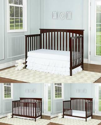 Convertible Baby Crib 5 in 1 Nursery Toddler Bedroom Furniture Safe Side Rails