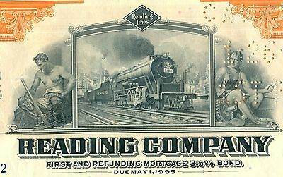 Wholesale Lot of 10 1945 Reading Company Bonds Stock Certificate Railroad