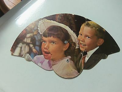 Vintage Tri-Fold Hand Fan - Portsmouth Va Morris Co. Children Praising God #8687