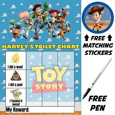 Reusable Toy Story potty Toilet training Reward Chart Stickers, pen, MAGNETIC