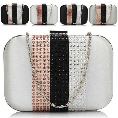 Glitter Diamante Women Clutch Bag Boxed Hard Bridal Ladies Evening Prom Party UK