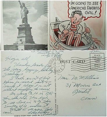 O) 1944 United States . Usa, Komic View Post Card, Statue Of Liberty, One Cent S