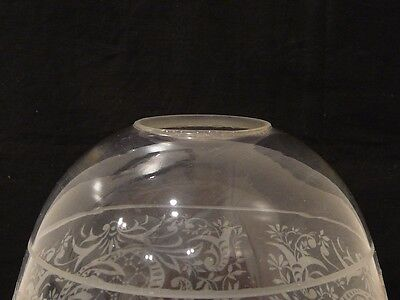 """Antique Vintage Etched Clear Glass Lamp Light Fixture Shade Globe 1.75"""" Fitter"""