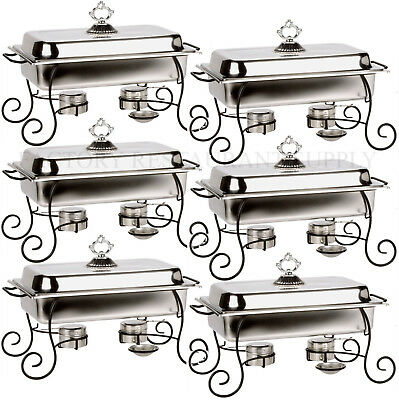 6 PACK 8 Qt Full Size CLASSIC Chafing Dish Set Black Iron Stand Stainless Steel