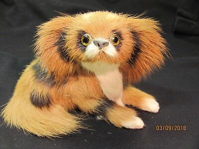 Well Made Vintage Toy Stuffed Dog Statue With Real Fur King Charles Pekingese???