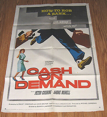 CASH ON DEMAND 1961 Peter Cushing,ORIGINAL FULL SIZE MOVIE POSTER