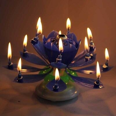 Blue Spinning Musical Lotus Happy Birthday Candle Flower Cake Topper From USA