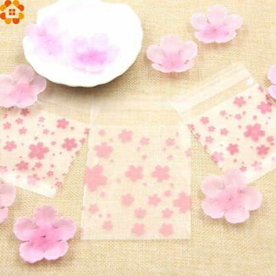 100PCS Lovely Plastic Self-Adhesive Pink Cherry Candy Bag Cookie Package