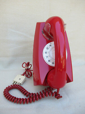 Vintage Telephone Red  Dial Wall Phone  C1970s  *Extremely Rare*
