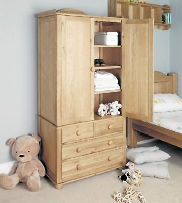 Amelie Oak Childrens Double Wardrobe Brown - Baumhaus
