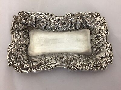 Lovely Vintage Floral Repousse Sterling Silver 925 Pin Candy Coin Dish Tray