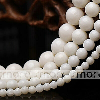 """White Synthetic Coral Gemstone Round Loose Beads 15.5"""" Inches Strand 4 6 8 10mm"""