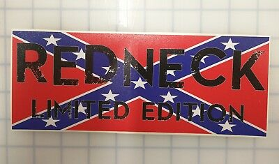 Redneck Limited Edition American Flag Window Decal Bumper Sticker 3.5x9 inches