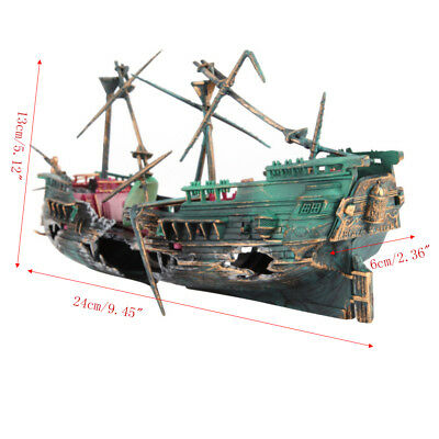 Aquarium Ornament Wreck Sailing Boat Sunk Ship Destroyer Fish Tank Plactic Decor